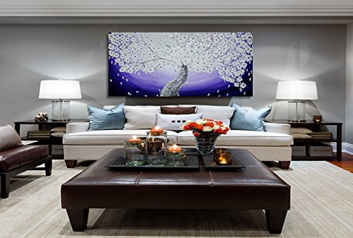 Purple Wall art deco tree abstract oil painting. Metallic modern artwork,