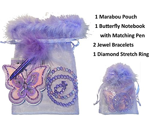 Girl's Marabou Mini Gift Stuffers - Stocking Stuffers, Easter Basket Stuffers, Valentine's Day Gifts or Add with a Gift Card. The Perfect Mini Gift! (Butterfly Notebook & Jewelry - Lavender)