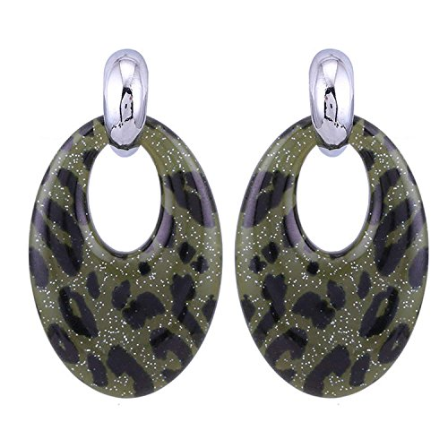 Rising ON Oval Big Drop Earrings For Woman Resin Printer Tiger For Trendy Fashion Woman Earrings Brand Jewelry,Military Green -
