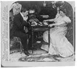 Photo: Jack pot-poker - his 'sure thing' beaten',1900,man and woman playing cards