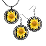 Sunflower Bottlecap Necklace and Earrings