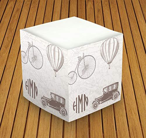 Personalized Memo Cube - Personalized Self Stick Memo Cube - Vintage Travel - 2807_52