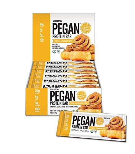 Pegan® Protein Bar (Vanilla Cinn Roll) 12 Bars (20g Organic Plant Protein) (3 Net Carbs 1g Sugar) VeganⓋ by Julian Bakery