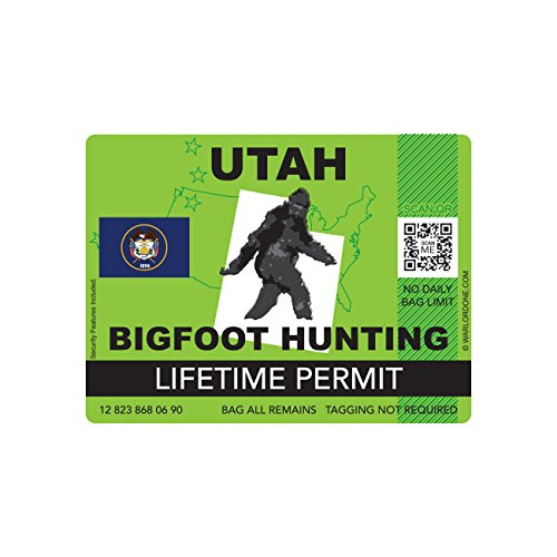 Utah Bigfoot Hunting Permit Sticker Die Cut Decal Sasquatch Lifetime FA Vinyl