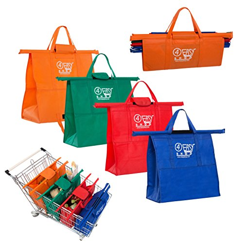 4EASYSHOP Trolley Bags  Reusable Grocery Shopping Cart Bag Set of 4 Bags Sized for USA  with Velcro Straps & 1 Thermally Insulated