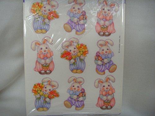 Vintage Hallmark Easter Bunny Rabbit Stickers Scrapbooking ; 1 sheet