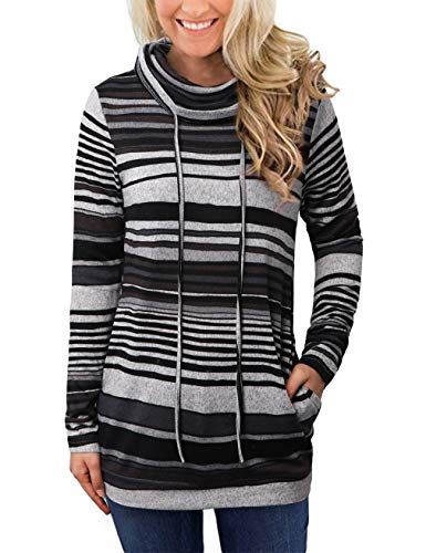 (EMVANV Striped Long Sleeve Tops Pullover Sweatshirt,Casual Cowl Neck Sweatshirts with Pockets for Women (Gray Black Strip, Small))