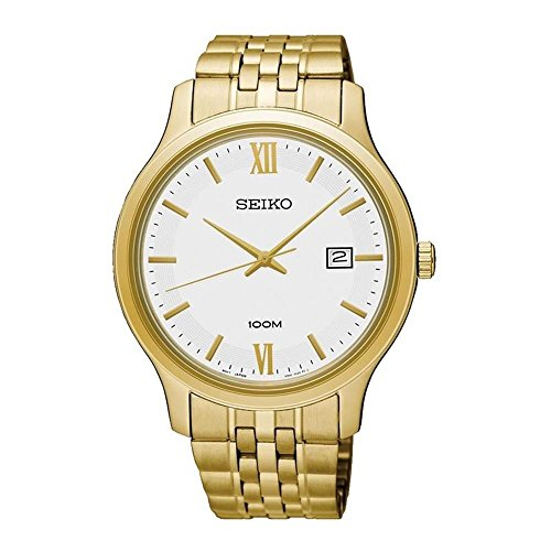 Seiko Men's 41mm Gold-Tone Steel Bracelet & Case Quartz White Dial Analog Watch SUR224