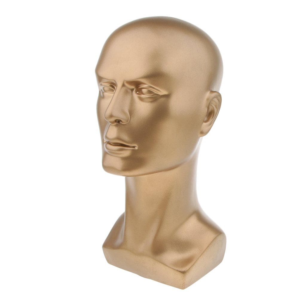 Gold Mannequin Manikin Man Head Stand Model Display Wig Hats Glasses Headphone Holder 14 Tall SM SunniMix Plastic Male Model Head