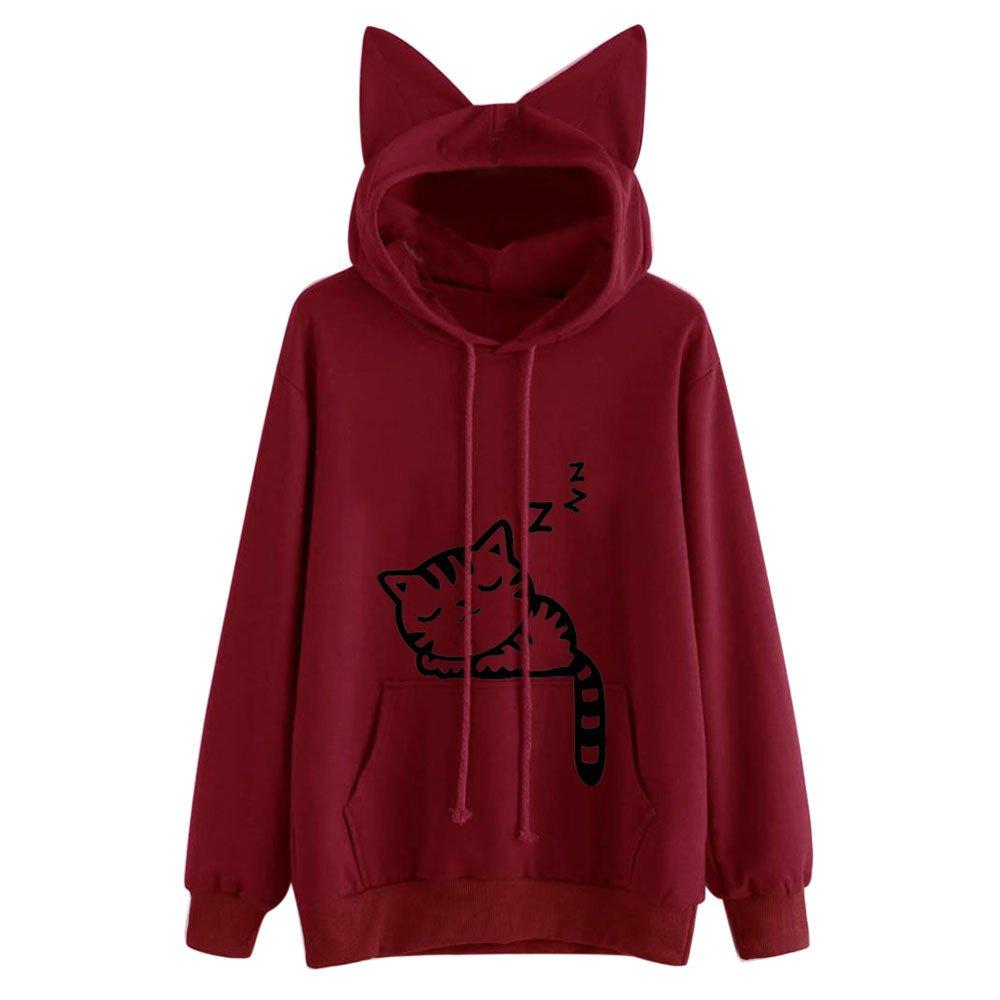 Opeer Hooded Pullover Womens Cat Long Sleeve Hoodie Sweatshirt Tops Blouse (S(US:4), Red)