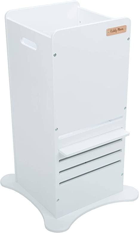 KiddyMoon Wooden Kitchen Helper Step Stool for Kids Toddlers ST-002 Plywood//White