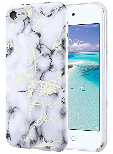 ULAK iPod Touch Case,iPod 6 Marble Case, Clear Case Slim FIT Anti-Scratch Flexible Soft TPU Bumper PC Back Hybrid Shockproof Protective Case for Apple iPod Touch 5 / 6th Generation-Marble White