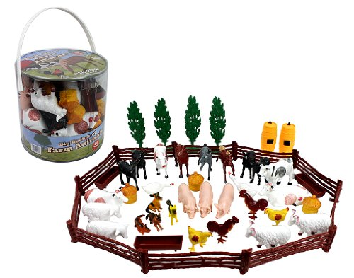 SCS Direct Farm Animal Action Figures - Big Bucket of Farm Animals - 50 Pieces in Set! -