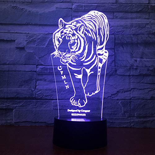 (Zonxn Fashion Art Sculpture Colors Changing Lights 3D Optical Illusion Tiger Modelling Led Night Lamp Touch Button Home Lightings Lamp)