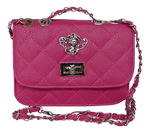 Trachtentasche Umhängetasche fürs Dirndl - Antikstil Applikation - Tasche aus PU Leder Pink