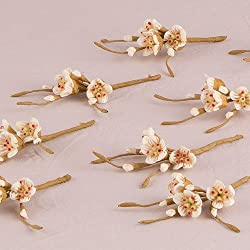 Sugared Cherry Blossom Spray Wedding Favor Decoration Set of 12