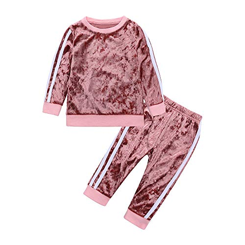 Mary ye 2Pcs Fashion Toddler Baby Girl Velvet Sweatshirt Tops Pant Set Tracksuit Pink