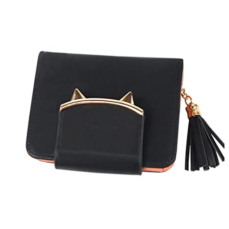 Alexsix Mujeres Cat Ears PU Leather Tassel Wallet Short Mini Womens Carteras Monedero para Tarjetas de