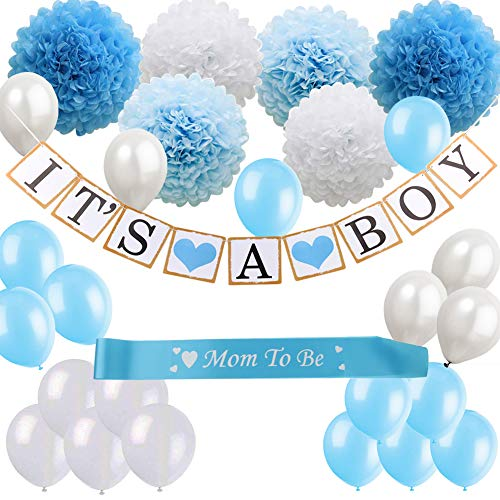Baby Shower Decorations for Boys Kit, It's a Boy Banner, Blue, Tiffany Blue and White Paper Flower Pom Poms, White Blue Balloons, om to be Sash, Perfect for Indoor and -
