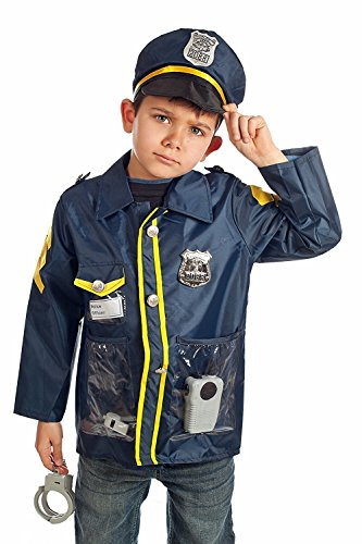 OUTAD Children's Police Officer Role Play Costume Set, Ages 3-6 yrs (Girls Blue Police Officer Costume)