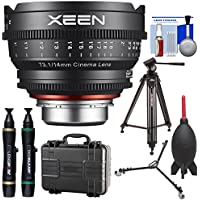 Rokinon Xeen 14mm T/3.1 Wide-Angle Pro Cine Lens (for Video DSLR Cinema Canon EF Cameras) with Waterproof Hard Case + Tripod + Dolly + Kit