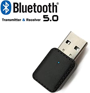 Bluetooth 5.0 Adapter- Wireless Audio Receiver & Transmitter for Car/TV/Headphones/PC/Home Stereo, with 3.5mm AUX, USB Power Supply, Plug and Play