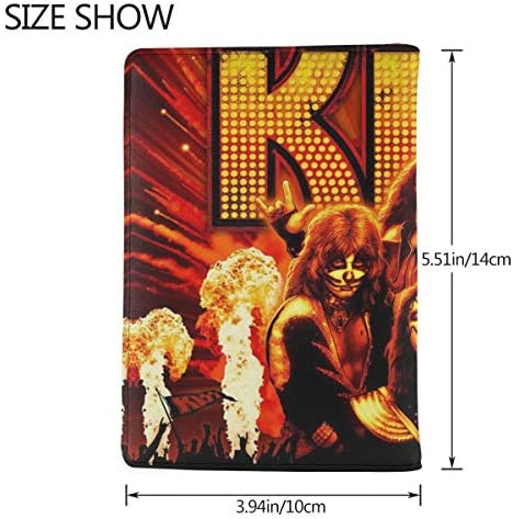 Kiss Rock 面白い 図案デザイン パスポートケース メンズ 男女兼用 パスポートカバー パスポート用カバー パスポートバッグ 小型 携帯便利 シンプル ポーチ 5.5インチ高級PUレザー 家族 国内海外旅行用品