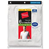 Hanes Mens Cotton Nano V-Neck T-Shirt,White (6-Pack),3XL