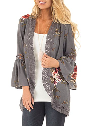Yonala Womens Fashion Floral Open Front Blouse Loose Tops Kimono Floral Print Cardigan,Grey,Medium