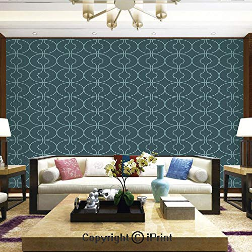 (Lionpapa_mural Removable Wall Mural   Self-Adhesive Large Wallpaper,Moroccan Oriental Design with Geometric Shapes Circles Corners,Home Decor - 66x96 inches )