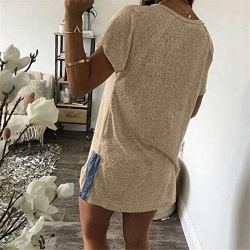 Femmes Robe, Duseedik Taille Plus Été Dressbilayer Irregula Beige Mini Écharpe Lâche
