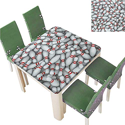 (Printed Tablecloth,Pile of Vivid Bowling Pins Skittles Red Stripes 3D Style Print Liquid Spills Bead Great for Buffet Table,51.5W x 51.5L Inches(Elastic Edge))