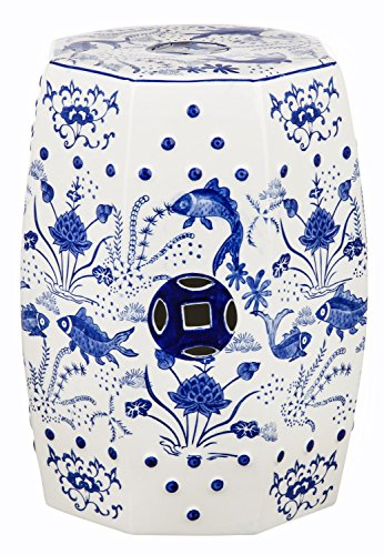 Safavieh Castle Gardens Collection Glazed Ceramic Blue Cloud 9 Chinoiserie Garden Stool
