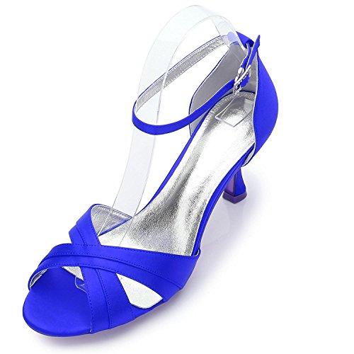 L@YC Frauen Damen Abend Hochzeit ML17061-33 Party Peep Toe Sandalen Schuhe Größe/Elfenbein/Silber/Blau Blue