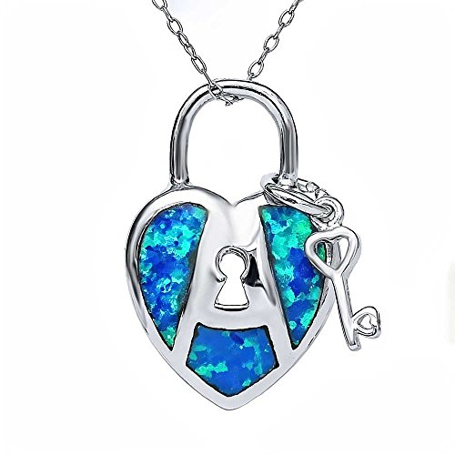 925 Sterling Silver Created Opal Key And Lock Heart Pendant Necklace (17X22MM, With 18 Inch Silver Chain)