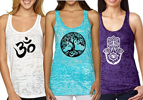 Epic MMA Gear Fitness Tank Top, Workout Tanks, Burnout Racerback Bundle of 3 (S, White/Blue/Purple)