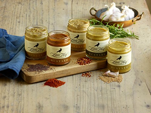 Little Thief Mustard Gift Set by Lucero - Five 10oz jars - Sweet Roasted Garlic I Country Dijon I Tequila Jalapeno Kiss I White Wine Tarragon I Beer Blaze Mustard Condiments
