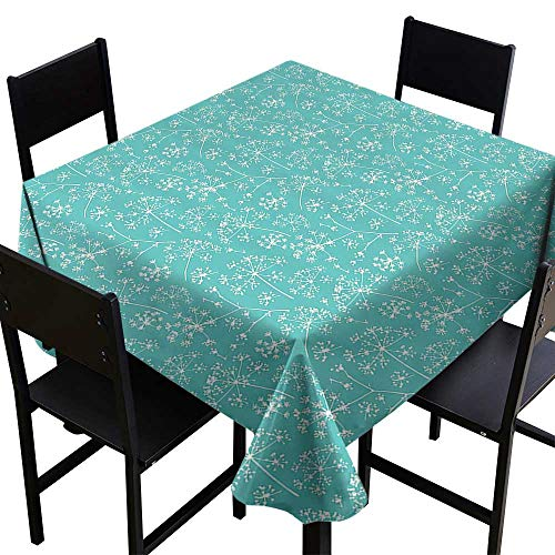 Mahogany Tiffany Desk - Table Cloth for Dinner PartiesTurquoise Decor Collection,Delicate Umbrellas Parsley Dill Blossom Wildflower Summertime Plants Pattern,Tiffany Blue White,W60 x L60 Square Tablecloth