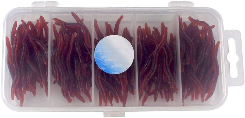 Yujum Silicona simulado Lombriz Blancos Rojos del Gusano de Tierra Set Soft se/ñuelos de Pesca cebos Falsos Ganchos Tackle