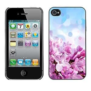 SHIMIN CAO- Dise?o Caso duro de la cubierta Shell protector FOR Apple iPhone 4 4S 4G- Purple flowers flower