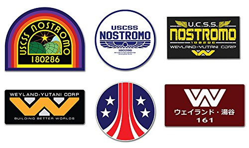 Stickerzzz!!! ALIEN DECAL Nostromo Weyland-Yutani Corp Sulaco , Alien , Aliens - Decal Set Of 6 Stckers]()