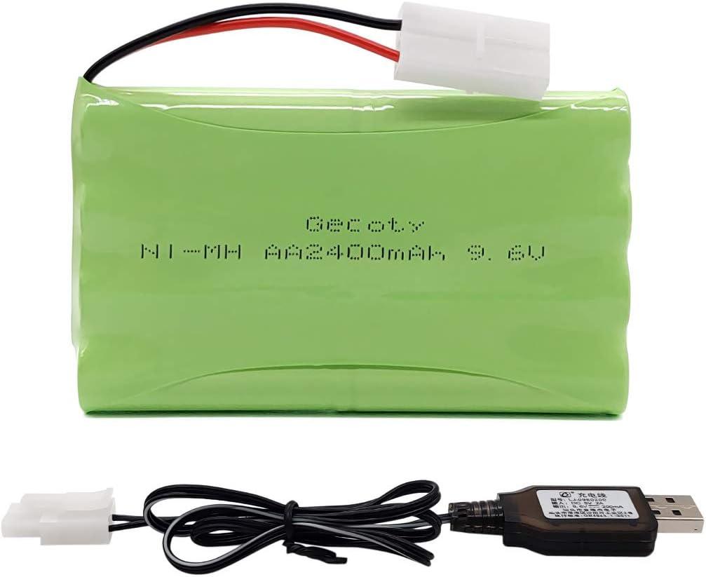 Gecoty® Batería 9.6V, batería AA Recargable Ni-MH de 2400mAh con Cable de Carga USB y Enchufe Tamiya para Coche RC, Tanques RC, Barcos RC, iluminación, Herramientas eléctricas