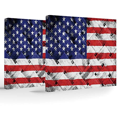 (iPrint Birthday Decorations,Rustic American USA Flag,Modern Stretched and Framed Artwork,Fourth of July Independence Day Thatch Rattan Rippled Weave Bamboo Art Decorative)