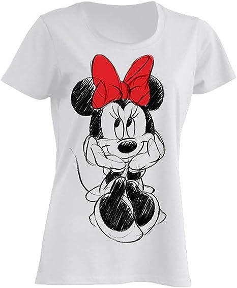 Disney Minnie Mouse Nœud Rouge T-Shirt Femme
