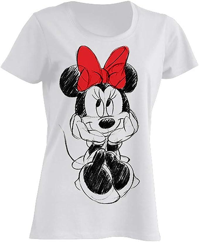 Disney Minnie Mouse Lazo Rojo Camiseta Mujer