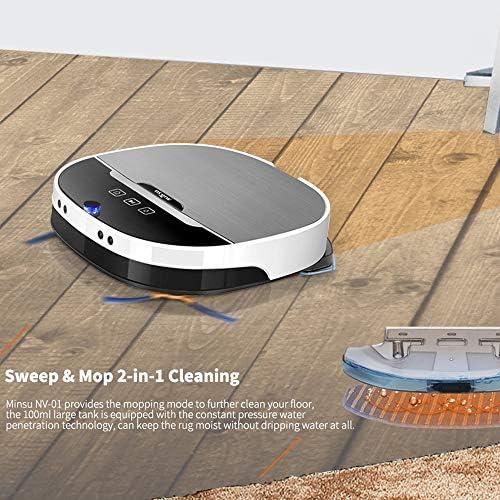 Aspirateur Robot, 2 À 1 Puissant Capteur Anti-Collision D\'aspiration Aspirateur De Navigation Intelligent Portable LED APP Télécommande 2200Pa