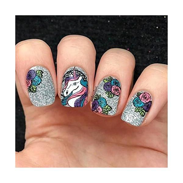 BORN PRETTY 1Pc Rectangle Stamping Plate Unicorn Pattern Manicure Nail Art Plate Harunouta L045 7