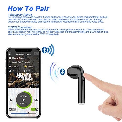 Wireless Earbuds, coolsun Bluetooth Headphones Mini In-Ear Headsets Sports Earphone with 2 True Wireless Earbuds for iPhone X/8 /7/ 7 plus/ 6/ 6s plus Android, Samsung Smartphones - Image 4