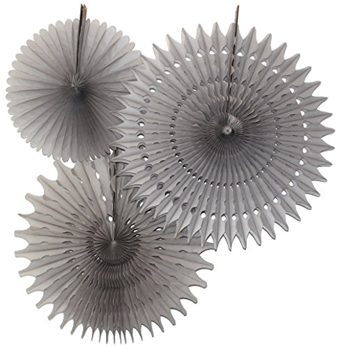 Hanging Honeycomb Tissue Fan, Gray, Set of 3 (13 inch, 18 inch, 21 -