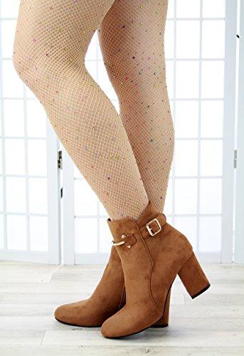 Mode Haut Chameau Boucle Larena Des Occasionnels Bottines Zip Femmes Bloc Chaussures Talon Nouvelles Dames Zwdqvgw